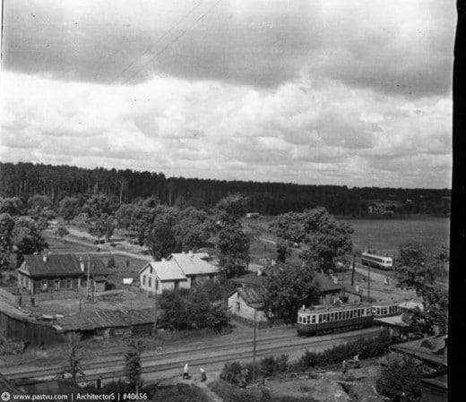 Вид из дома №15 на Красностуденческий проезд, Новое шоссе, Лесную дачу МСХА. Снимок сделан между 1950-1953 годами.